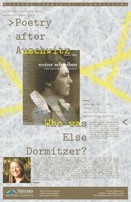 Poster: Poetry after Auschwitz: Who was Else Dormitzer? - Alfers